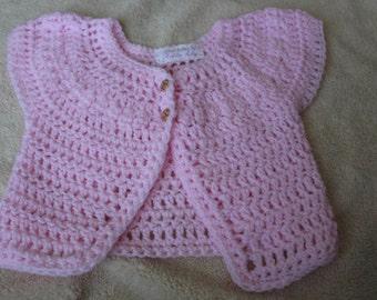 Chunky wool girls short sleeve cardigan