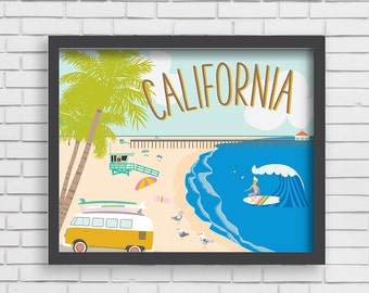 Home Wall Decor- California: Life on the Beach-8x10, 11x14