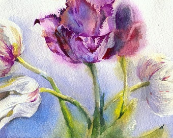 Tulip watercolor painting - flower watercolor original, paper. Flowers print, watercolor print