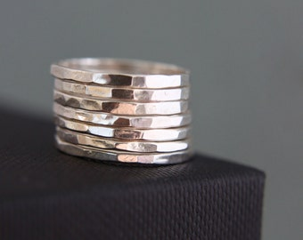 Sterling silver stacking rings, hammered rustic rings.