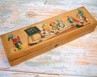 French vintage childs wooden pencil box with The Seven Dwarves. Writing box with Seve Dwarves lithograph. Collectible pencil box.