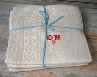 Set of 6 antique french monogram pure linen napkins. NEVER USED. New old stock. Ivory. wedding gift. Antique white.monogram DB.