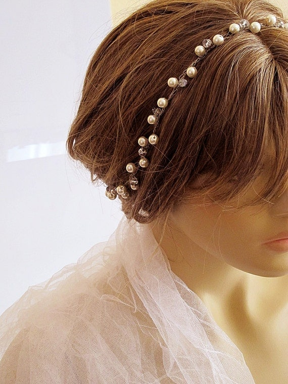 Crochet Hair For Wedding : similar to Wire crochet Bridal headband, Wedding Headband, Bridal Hair ...