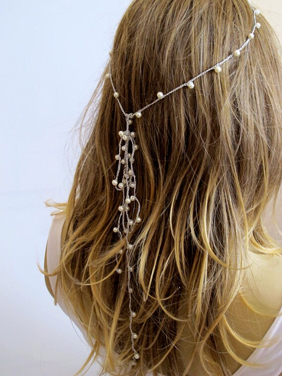 Crochet Hair For Wedding : crochet Headpiece, pearl Headband, Wedding hairband, Hair Piece ...