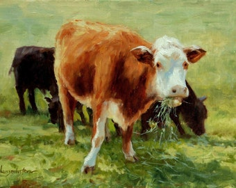 Landscape, cows, oil painting, 9 x12, cattle, impressionist, spring, cattle, animals, water, farm, original art by DJ Lanzendorfer