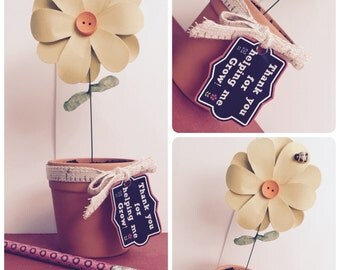 Paper flower teacher gift - thank you for helping me grow
