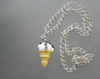 Necklace Vanilla Ice cream cone drizzled with chocolate sauce/birthday gift/novelty/charm/Christmas