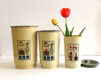 Vintage Plastic Kitchen Canisters - Set of 3
