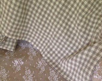 French Linen Checked Throw 56 x 57  129A