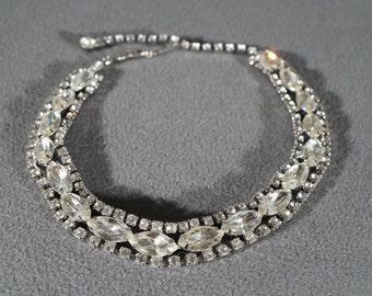 Vintage Traditional Style Round Marquis Rhinestone Bib Style Necklace Jewelry    K