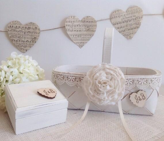 Ring Bearer Box And Flower Girl Basket Set With Wedding Ring Pillow