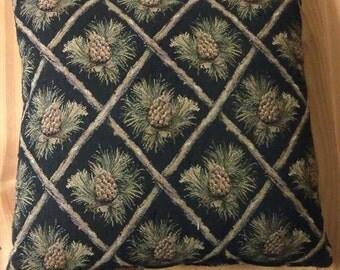 Rustic Pine Cone Cabin Pillow 16 x 16