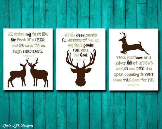 Hunting Nursery Decor. Genesis 27:3. Psalm 42/1. Psalm 18/33.