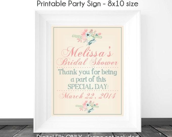 Bridal Shower Printable Sign, Wedding Shower Sign, Tan and Floral Printable Sign, Custom Bridal Shower Sign, 8x10, YOU print