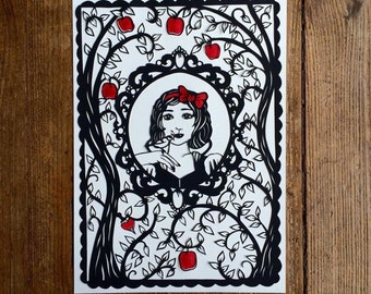 Snow White fairytale papercut template, with personal use rights.