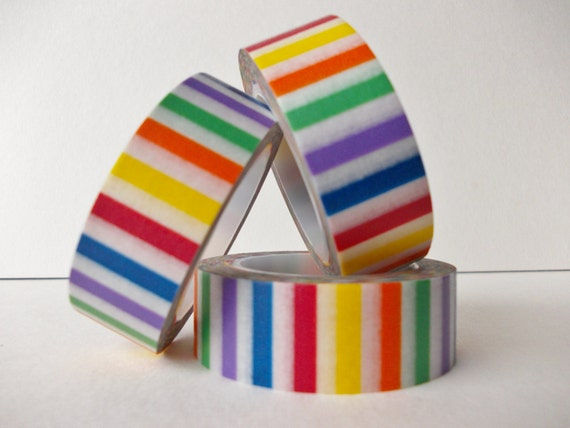 Rainbow candy stripe washi tape 15mm x 10m roll multi colored for Rainbow color stripe watch