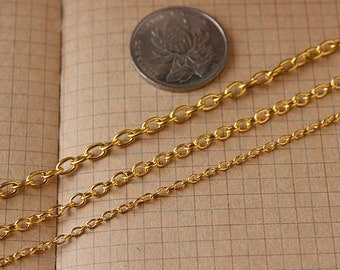 10 meters cable chain-gold fine chain round cross chain 3x2mm