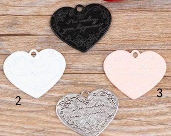 10pc multicolour big English brand heart Pendants  28x34mm