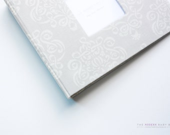 MODERN Baby Book // Natural Medalion Swirls Cover // gender neutral. baby book. baby keepsake. toddler keepsake. toddler book