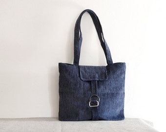 Large tote bag blue rough fabric bag