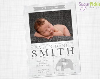 Birth Announcement, Boy elephant birth announcement, 5x7, baby Boy, Birth announcement, grey, Birth Announcement