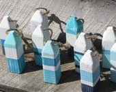 Nautical Favors, Mini Lobster Buoy Ornaments- Assorted Colors, Reclaimed Wood