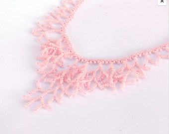 Pink Necklace.  Wedding Necklace. Bridal Necklace. Bridesmaids Necklace. Beadwork