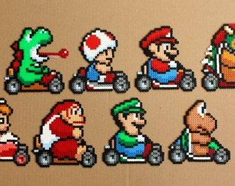 Super Mario Kart Perler Hama Bead Sprites Racing SNES Videogame Characters