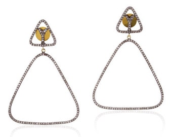 Victorian 6.10ct Rose Cut Diamond Earrings, Free Shipping Worldwide