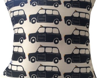 Designer london british back taxi cab queen uk retro funky cushion cover 16""