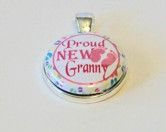 Pink and White Proud New Granny Grandmother Round Silver Pendant