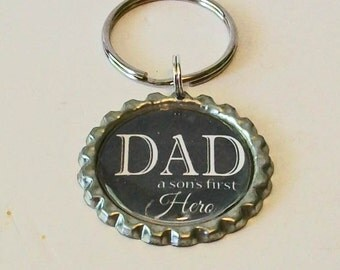 New Black Dad A Son's First Hero Father Metal Flattened Bottlecap Keychain Great Gift