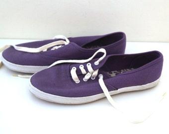 Vintage 80s canvas shoes purple womens 7.5 funsteps keds
