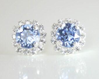 cornflower blue crystal earrings,light sapphire crystal earrings,swarovski earring,swarovski leverback earring,blue wedding jewelry,sapphire