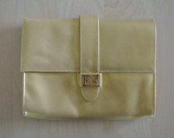 Escada Gold Clutch Yellow Patent Leather Envelope Style Handbag