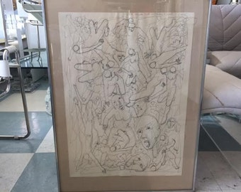 Mid Century Modern Italian Abstract Ink Drawing, Signed and Dated 1965