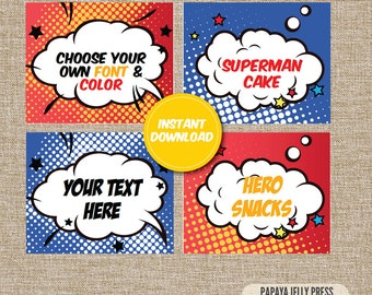 Super Hero Food Tents, Comic Book Party, Pow, Zonk, Boom