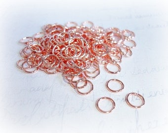 50 X Bright Copper Tone 8mm Open Jump Rings