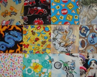 """I SPY 5.5"""" Novelty quilting squares, 100 fussy cut squares"""