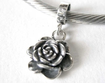 Sterling Silver Rose Dangle European Style Large Hole Bead Pendant