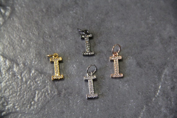"""CZ Micro Pave Letter """"I"""" Charm with Jump Ring"""
