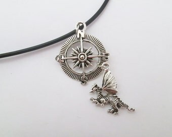 Compass and dragon cord necklace
