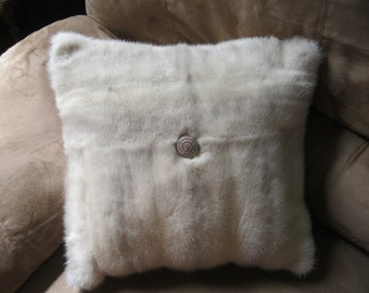 Vintage Ivory Pastel Mink Pillow with Decorative Button