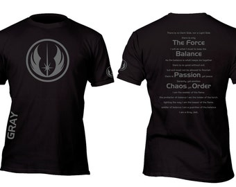 Limited Edition Gray Jedi Code Custom Shirt All sizes up to Plus 5x