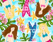 Preppy Mermaids digital paper - Original Art download, preppy download, mermaid design, Tracey Gurley Designs, The Island Collection