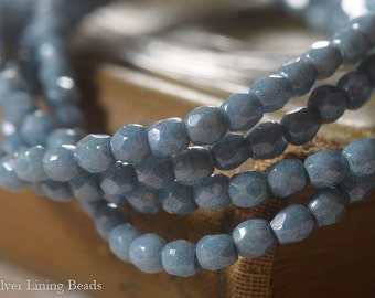 Faded Denim Bits (50) - Czech Glass Bead - 3mm - Fire Polish Faceted Round