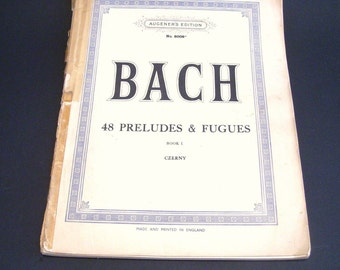 Bach 48 Preludes and Fugues Augeners Edition No 8009 Book 1 Czerny Piano Music