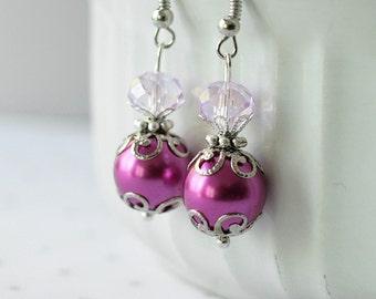 Magenta Pearl Crystal Bridesmaid Earrings, Magenta Wedding Jewelry Sets, Dark Pink Bridesmaid Jewelry Gift, Magenta Bridal Jewelry