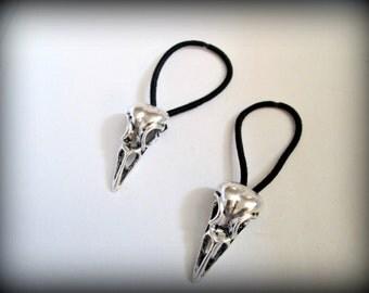 Silver Bird Skull Ponytail Holder,raven skull,skull hair band set of 2/Gothic/fantasy/punk