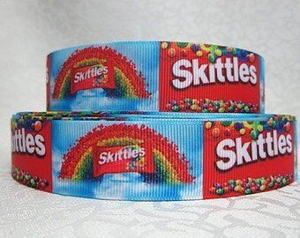 "1"" wide Skittles ribbon/3 or 5 yards taste the rainbow/ candy/ grosgrain ribbon/ print"